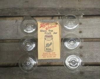 6 Vintage Ball Ideal Fruit Jar Lids & Box