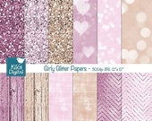 70% Sale Girly Glitter Digital Papers, Pink Glitter Papers, Girl Colors, Wood Texture - decor, invitations, scrapbook - INSTANT DOWNLOAD
