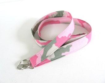 Lanyard Keychain, Pink Camo Fabric ID Badge Lanyard, Keys Lanyard