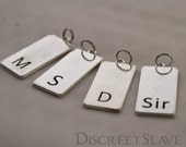 SALE. Master, Slave, Dominant or Sir. Charm for necklace, keyring or collar. For Masters and slave in a BDSM relationship.