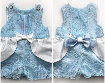 Toddler Girls Cinderella Costume Romper Jumpsuit Handmade Unique - Ready to Ship - Sz 2
