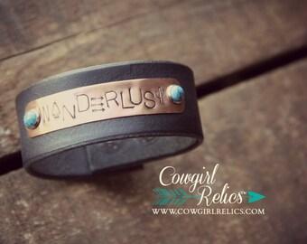 Rustic Leather Cuff - Wanderlust, Boho Jewelry, Western, Cactus, Arrowhead, Arrow, Turquoise