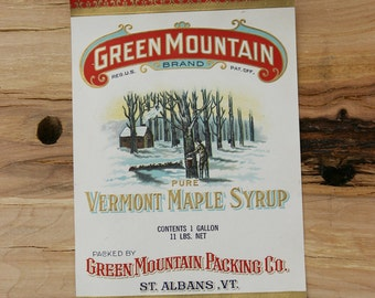 Vintage 1950s Fine New/ Old Stock Larger Size Sugar & Maple Syrup Tin Can PAPER LABEL Green Mountain Packing Co. St Albans, VT Very Rare