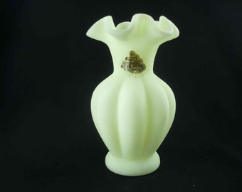 Fenton Custard Glass Vase Vintage Satin Glass