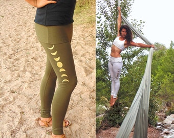 Libra Leggings: Skirted Yoga Pants with Moon Phase Screenprints. Fitted lunar cycle leggings with fold top skirt. Olive Green Organic Cotton