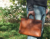 Cognac Briefcase (medium) - Handstitched leather briefcase