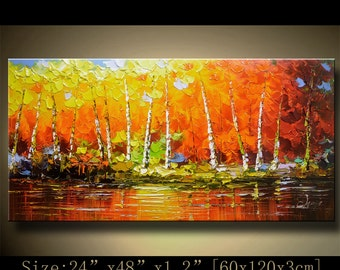contemporary wall art, Palette Knife Painting,colorful tree painting,wall decor , Home Decor,Acrylic Textured Painting ON Canvas by Chen h86