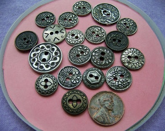 Lot of 19 Vintage Heavy Metal Buttons