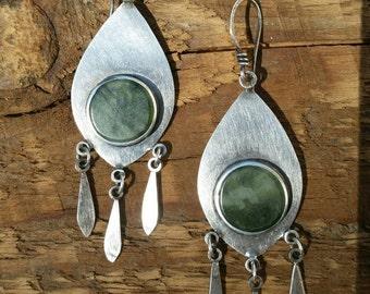 NEW Nephrite Jade Leaf Earrings