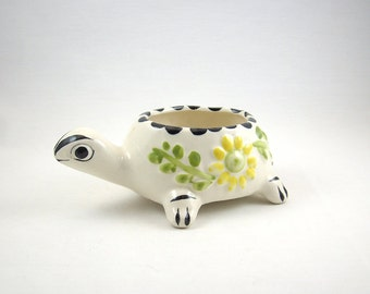 Vintage Pottery Turtle Planter Dish from Mexico