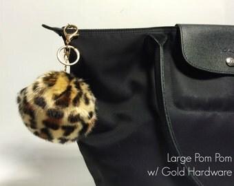 LEOPARD Faux Fur Pom Pom Keychain and Purse / Handbag Charm