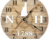 NEW HAMPSHIRE Established in 1788 Compass Map Clock Large 10.5 inch Clock Wall Clocks Round Clock Rustic State Clock NH State