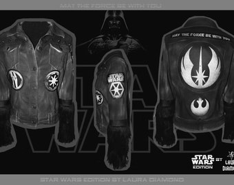 Laura Diamond Star Wars edition  denim jacket fur leather