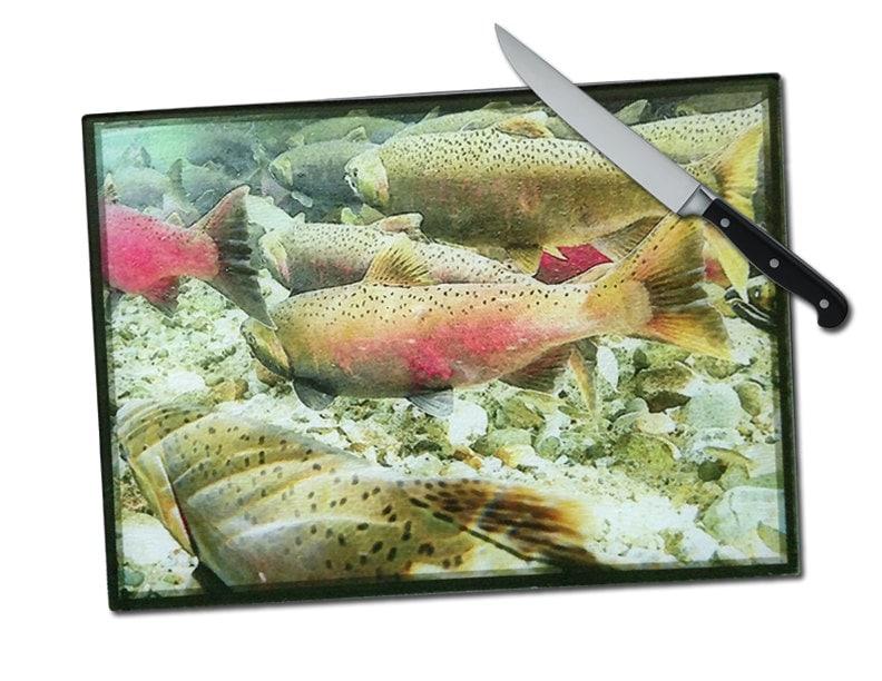Large salmon fish tempered glass cutting board glass cutting - Decorative tempered glass cutting boards ...