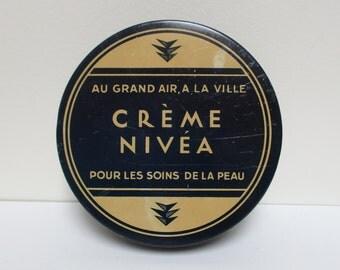 Vintage french tin box NIVEA, Boite métal, 1940, Blue kitchen, Antique, Home decor, Collector