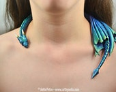 Custom Made Aurora Borealis Dragon Draper Necklace Pre-Order Shipping in 6-10 Weeks