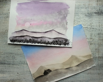 Landscape original watercolor 8x12 inches set of 2