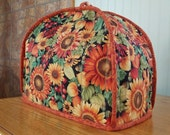 Handmade quilted toaster cover 2 slice bright sunflowers, leaves, acorns, copper,  rust, red, yellow, gold, green, black kitchen appliance