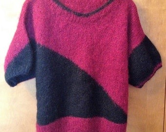Hand made black and burgundy sweater.