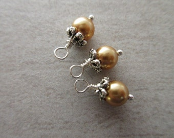 Swarovski Pearl dangles, 6mm round Bright Gold crystal pearl charms bead cap and wire wrap earring dangle bridesmaid charm 3pc SWPD104
