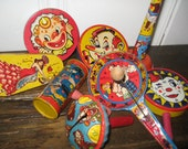 Reserved for Rodrigo -Sale - Vintage Tin Noisemakers - Eight Vintage Tin Noisemakers - Vintage Tin Noisemakers with Wood Handles