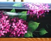 Hand Painted Pink Hydrangea Mailbox on black