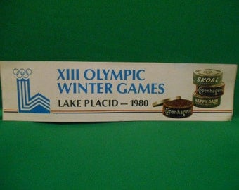 One (1), 1980 Lake Placid Olympic Winter Games, Bumper Sticker, from Skoal Tobacco.