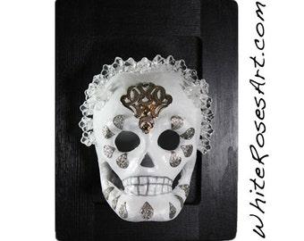 The Virgin - White Bridal Theme Skull - Day of the Dead - Dia de los Muertos Art