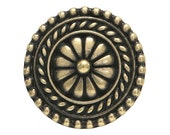 6 TierraCast Bali 11/16 inch ( 18 mm ) Brass Plated Pewter Buttons