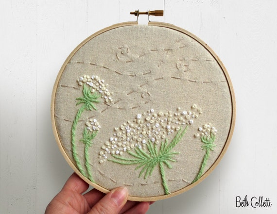 Queen annes lace embroidery hoop art french by bethcolletti