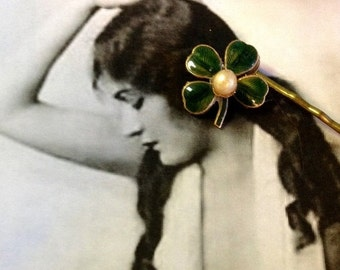 SALEWindyDays Decorative Hair Pin Jewelry 40-50's  St Patrick's Day Green Enamel Shamrock 4 Leaf Clover Pearl Hair Jewelry