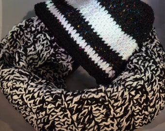 Black and White Crochet Hat & Scarf Set
