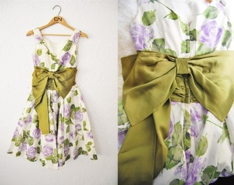 Vintage 1950s Floral Party Dress Prom Flower Bow Back Tulle Hollywood
