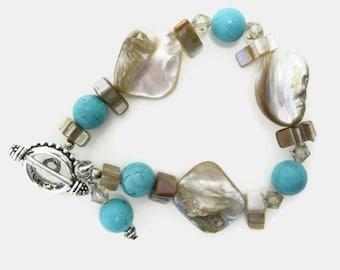 Shell and Turquoise Bracelet handmade beaded bracelet beige and blue gift for her summer shell bracelet birthday gift or Mother's Day gift