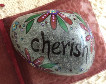 Happy Rock - Cherish - Hand-Painted River Rock Stone - maroon wine burgundy daisies pansies flowers