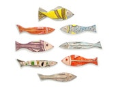 Colorful Ceramic Fish, Set of 8, Pottery Fish, Wall Art ceramic fish, Animal sculpture, Art fish