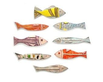 Colorful Ceramic Fish, Set of 8, Pottery Fish, Wall Art ceramic fish, Animal sculpture, Art fish