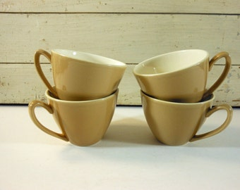 Set of 4 Vintage Diner Coffee Cups Tan and White