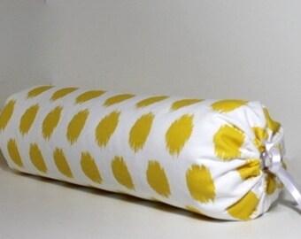 White Neckroll Decorative Pillow : Modern ikat fabric Etsy