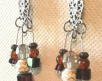 Beaded Earrings, Beaded Dangles, Stainless Steel Earrings