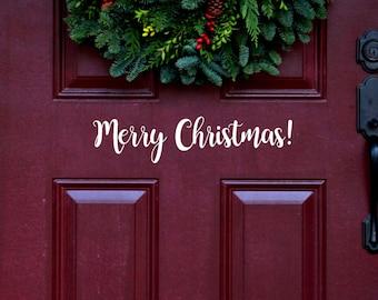 MERRY CHRISTMAS. Door Decal, Holiday Decal, Vinyl Wall Art,  Bounce Script.