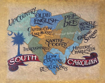 South Carolina State /  Map  - Print , art, SC