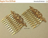ON SALE Hair Combs - 2pcs - Antique Bronze Filigree Hair Comb