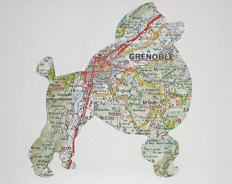 A FRENCH Poodle - Vintage map Art - ready to frame // hand paper cut // made from Vintage Map of France