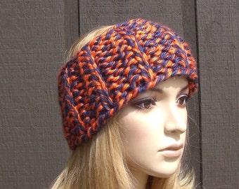 Navy and Orange Knit Headband Head Wrap Ear Warmer