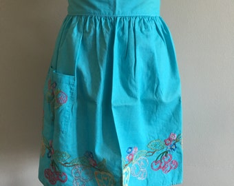 Vintage Turquoise Apron with Embroidery