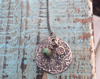 Silver Bohemian Necklace- Etched boho design
