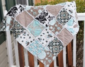 Baby Rag Quilt- Ready to ship Rag Quilt, mint  rag quilt, deer rag quilt, baby shower gift, baby girl rag quilt, one of a kind rag quilt
