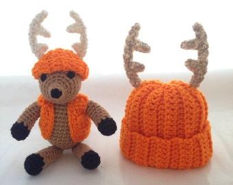 Baby Deer Amigurumi Hat Set - Stuffed Toy Animal Antler Hat set - Crochet hat and deer plushie set - Mini Dodge the Whitetail Deer & Hat Set