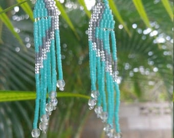Turquoise, silver and crystal luster beaded earrings